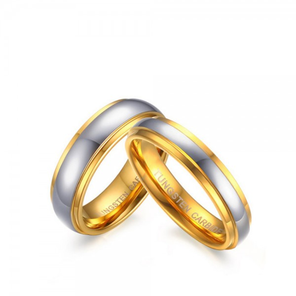 Tungsten Silvery Ring For Couples Gold-plating Simple and Fashion Style Polish Craft