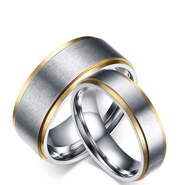Titanium Silvery Ring For Couples Gold-plating Simple and Fashion Inner Ard Deisgn Polish Craft