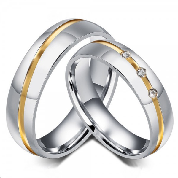 Stainless Steel Silvery Ring For Couples Inlaid Cubic Zirconia Gold-plating Simple and Fashion