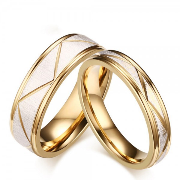 Titanium Silvery and Golden Ring For Couples Fluted Design Liberality and Fashion Brushed and Polish Craft