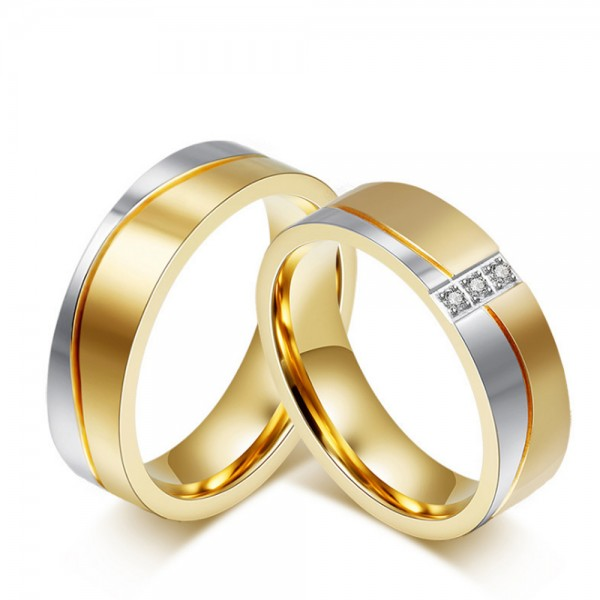 Titanium Silvery and Golden Ring For Couples Liberality and Luxury Inlaid Cubic Zirconia Fluted and Polish Craft