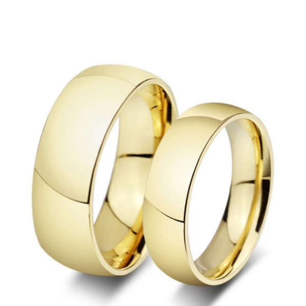 Titanium Golden Ring For Couples Simple and Fashion Style Smooth Surface