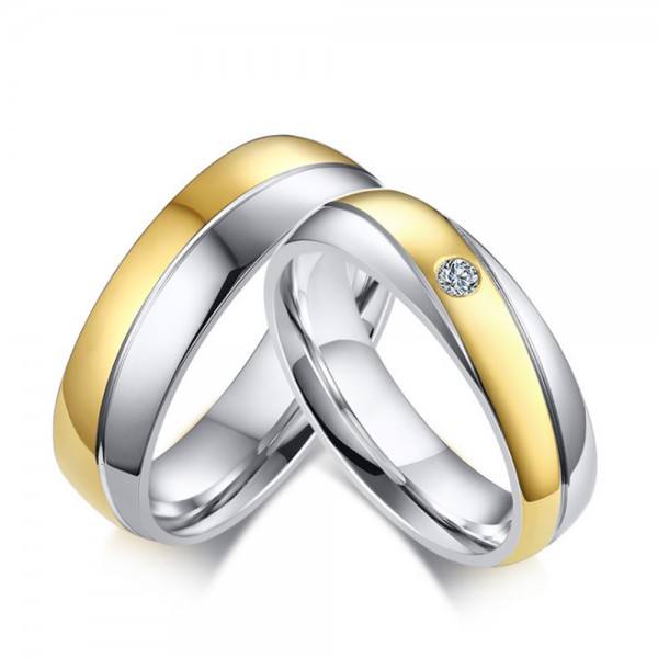 Stainless Steel Silvery and Golden Ring For Couples Simple and Fashion Inlaid Cubic Zirconia Fluted Craft