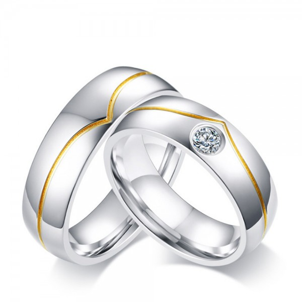 Stainless Steel Silvery Ring For Couples Gold-plating Simple and Fashion Inlaid Cubic Zirconia Fluted Craft