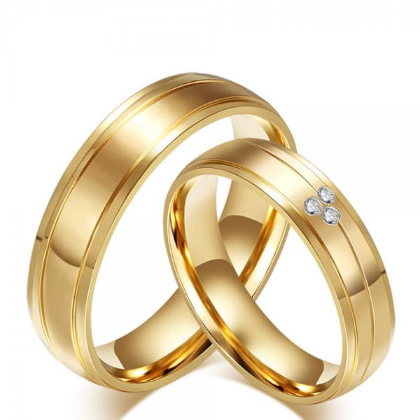 Titanium Golden Ring For Couples Luxury and Liberality Inlaid Cubic Inner Arc Deisgn Zirconia Fluted and Polish Craft