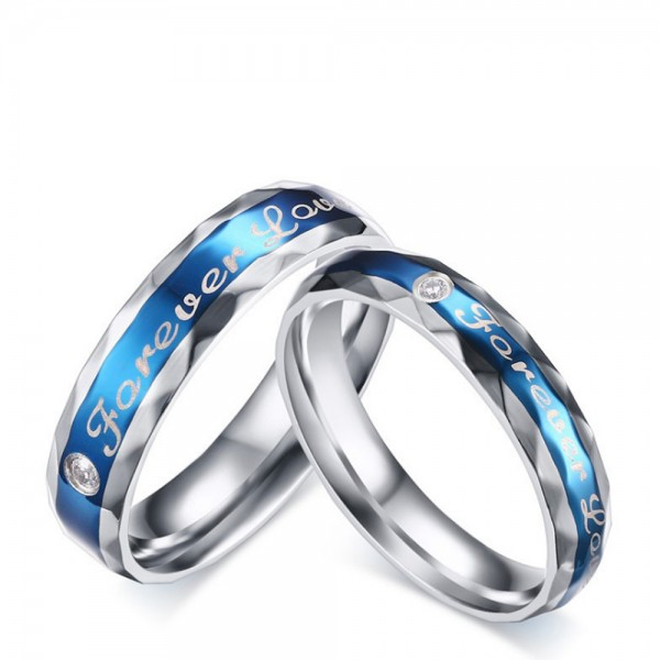 Titanium Blue Ring For Couples Forever Love Engraved Cutting Surface Simple and Fashion