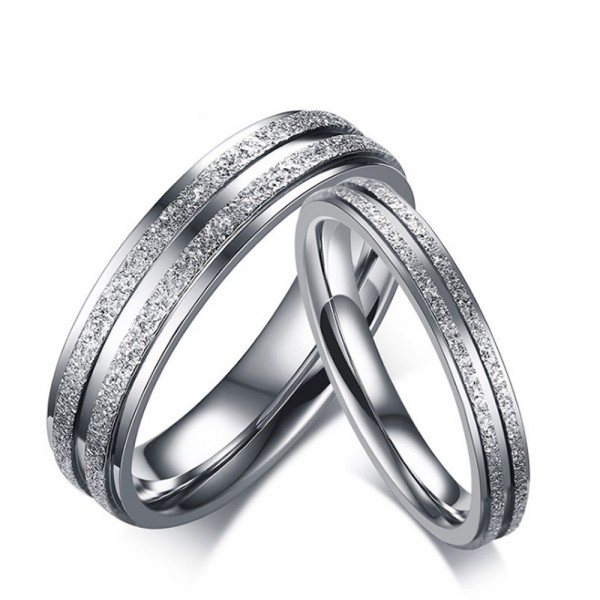 Stainless Steel Silvery Ring For Couples Simple and Classic Inner Arc Design