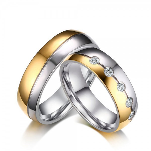 Titanium Silvery and Golden Ring For Couples Simple and Luxury Inlaid Cubic Zirconia Polish Craft