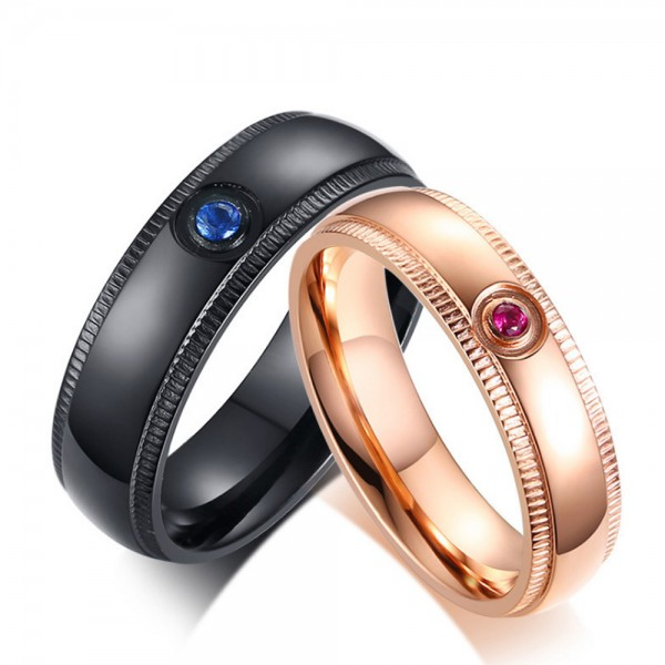 Titanium Black and Rose Gold Ring For Couples Inlaid Blue Diamon and Pink Diamond Gear Wheel Design Fashion and Classic
