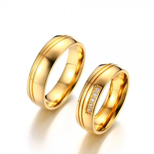 Stainless Steel Golden Ring For Couples Simple and Luxury Style Inlaid Cubic Zirconia Fluted Craft