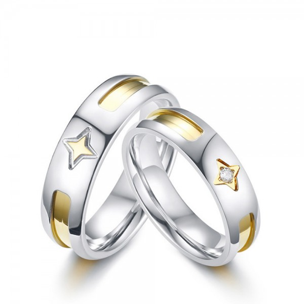 Stainless Steel Silvery Ring For Couples Stars Pattern Inlaid Cubic Zirconia Unique and Beautiful