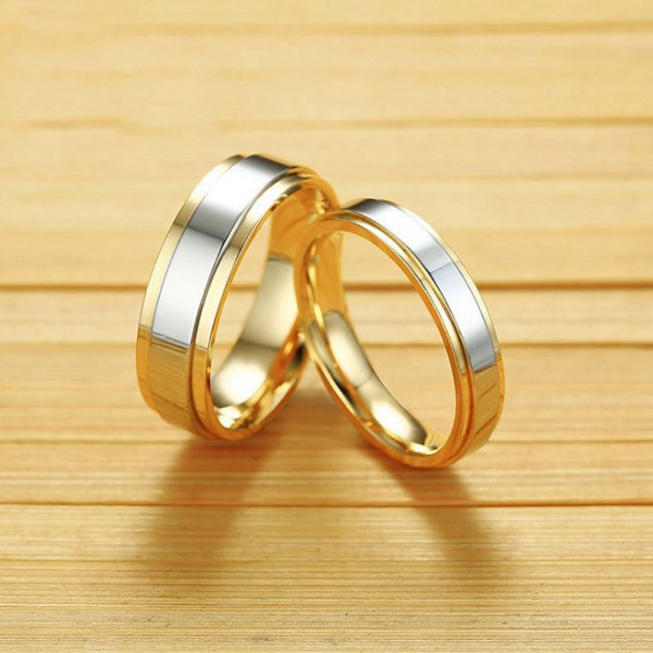 Stainless Steel Silvery and Golden Ring For Couples Simple and Vogue Polish Craft