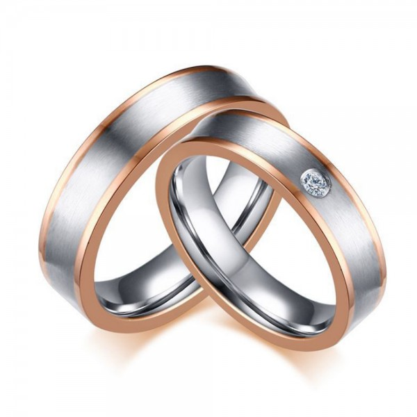 Titanium Silvery Ring For Couples Inlaid Cubic Zirconia Simple and Fashion Brushed and Polish Craft