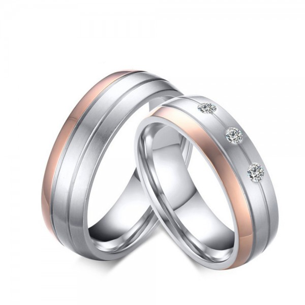 Stainless Steel Silvery Ring For Couples Rose Gold-plating Simple and Fashion Inlaid Cubic Zirconia Fluted Craft