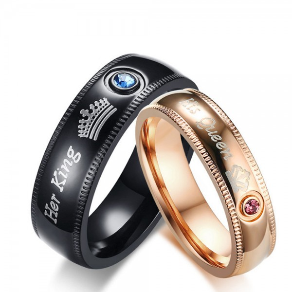 Stainless Steel Black and Rose Gold Ring For Couples Her King His Queen Engraved Inlaid Blue Diamond and Pink Diamond Fashion and Liberality