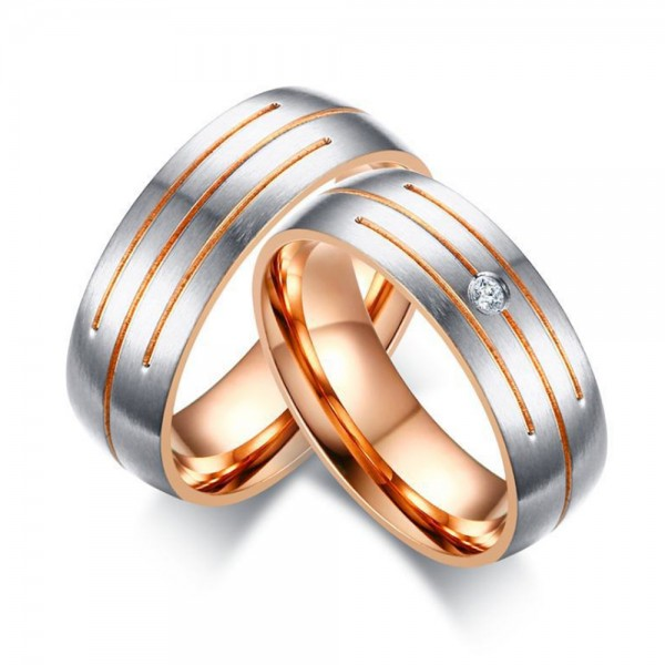 Stainless Steel Silvery and Rose Gold Ring For Couples Simple and Fashion Fluted Craft