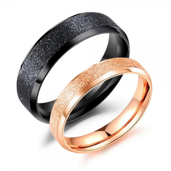 Stainless Steel Black and Rose Gold Ring For Couples Simple and Fashion Dull Polish Craft