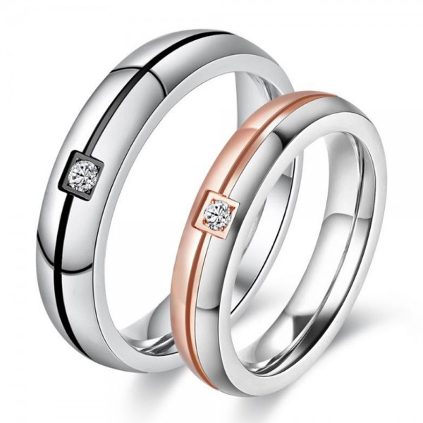Titanium Silvery Ring For Couples Black and Rose Gold-plating Inlaid Cubic Zirconia Simple and Liberality Fluted Craft