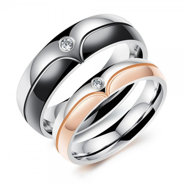 Titanium Silvery Ring For Couple Inlaid Cubic Zirconia Electroplating Black and Rose Gold Liberality and Fashion Fluted Craft