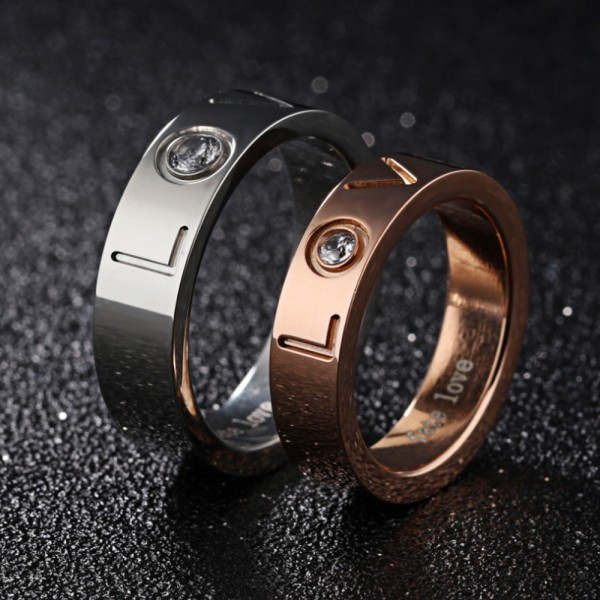 Titanium Silvery and Rose Gold Ring For Couples Inlaid Cubic Zirconia Fashion and Exquisite Love Engraved