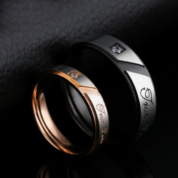 Titanium Silvery Ring For Couples Inlaid Cubic Zirconia Plating Black and Rose Gold Unique and Exquisite Love Engraved