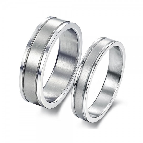 Titanium Silvery Ring For Couples Simple and Liberality Brushed Craft
