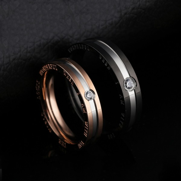 Titanium Black and Rose Gold Ring For Couples Inlaid Cubic Zirconia Simple and Fashion Style