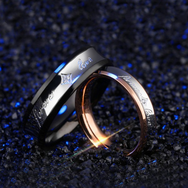 Titanium Silvery Ring For Couples Plating Black and Rose Gold Simple and Fashion Style Forever Love Engraved Inlaid Cubic Zirconia