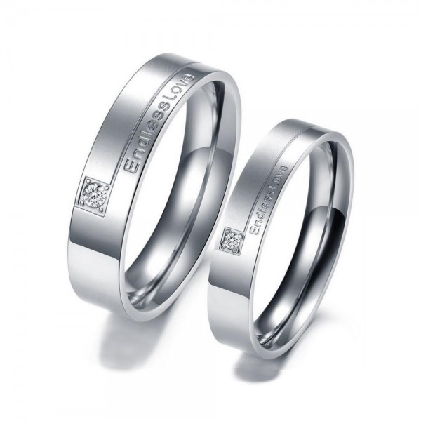 Titanium Silvery Ring For Couples Inlaid Cubic Zirconia Endless Love Engraved Simple and Fashion