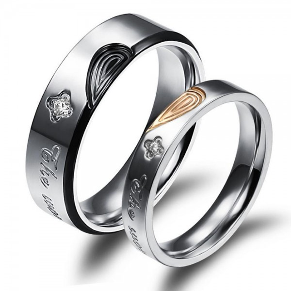 Titanium Silvery Ring For Couples Inlaid Cubic Zirconia Unique and Fashion Fingerprint Heart Pattern Design The World Changed Us Engraved