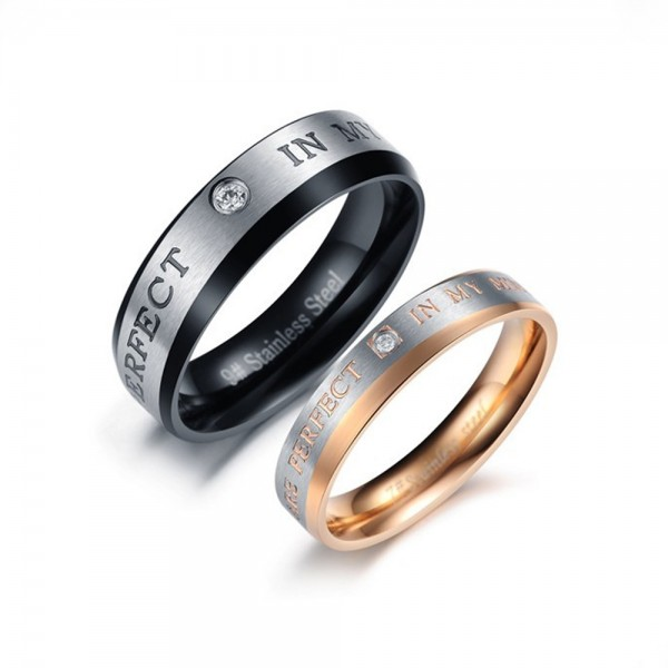 Titanium Black and Rose Gold Ring For Couples Inlaid Cubic Zirconia Simple and Fashion You Are Perfect In My Mind Engraved