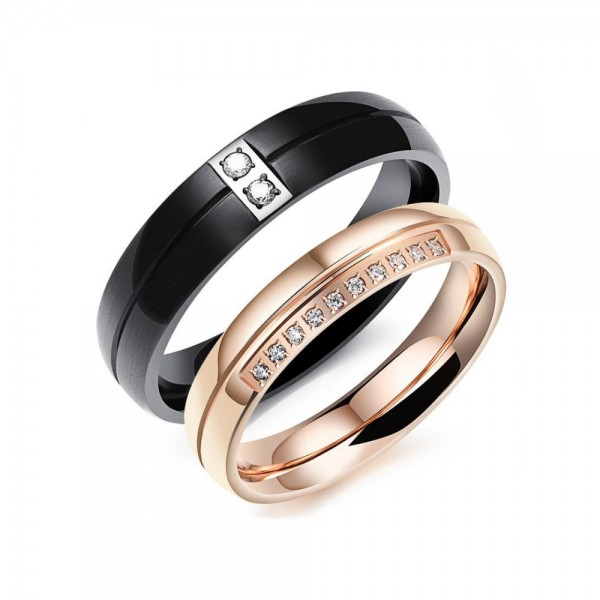 Titanium Black and Rose Gold Ring For Couples Inlaid Cubic Zirconia Fluted Craft Simmple and Liberality