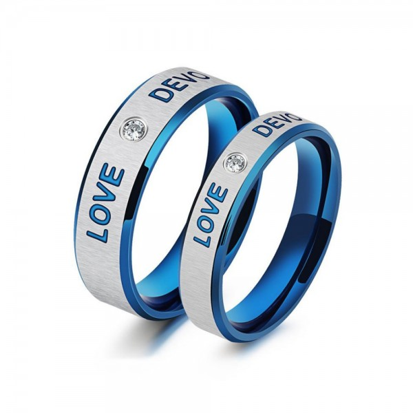 Titanium Blue Ring For Couples Inlaid Cubic Zirconia Simple and Fashion Love Devotion Engraved