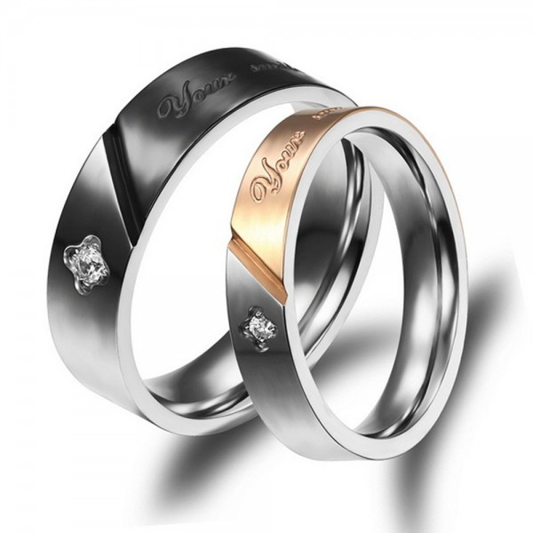 Titanium Ring For Couples Inlaid Cubic Zirconia Black and Rose Gold-plating Simple and Fashion Style Your Smile Make Me Happy Engraved