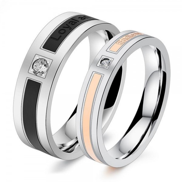 Titanium Silvery Ring For Couples Inlaid Cubic Zirconia Plating Black and Rose Gold Simple and Fashion Style Endless Love Engraved