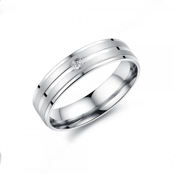 Titanium Silvery Ring For Couples Inlaid Cubic Zirconia Liberality and Fashion Style Inner Arc Design Comfortable to Wear