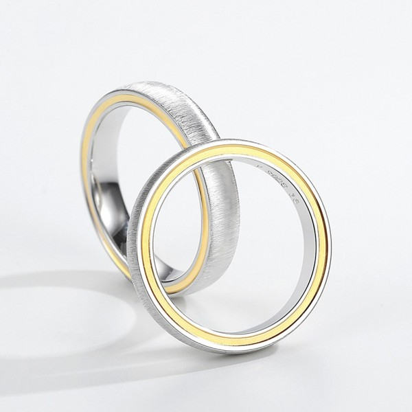 S925 Sterling Silver Rings For Couples Plating 24K Gold Luxury and Fashion Brushed Craft