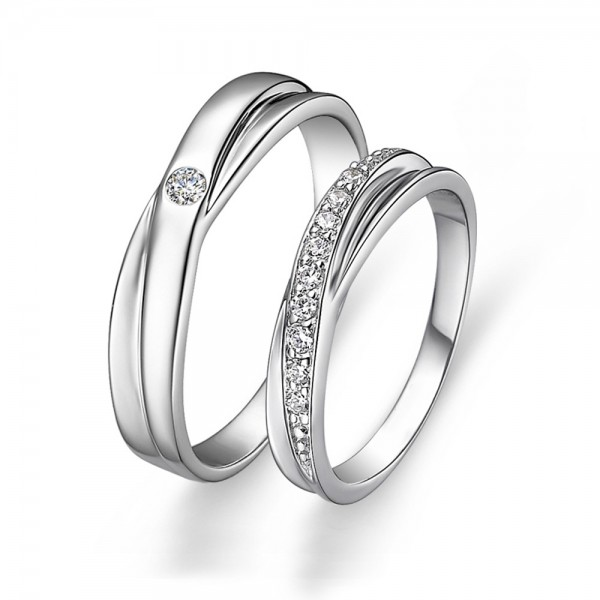 Sterling Silver Cubic Zirconia White Sapphire Silver Couple Rings Luxury and Original Design