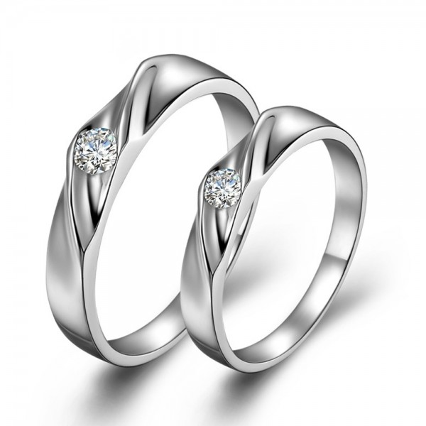 S925 Sterling Silver Cubic Zirconia White Sapphire Silver Rings For Couples Simple and Fashion