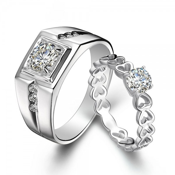 Popular Sterling Silver Cubic Zirconia White Sapphire Silver Rings For Couples