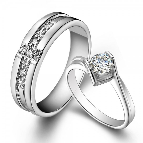 Fashion S925 Sterling Silver Cubic Zirconia White Sapphire Silver Rings For Couples Luxury and Fashion