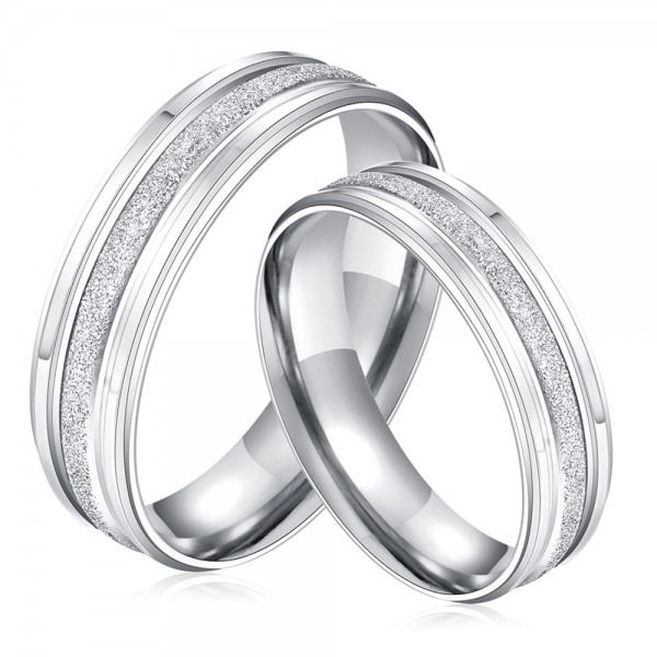 New Fashion Titanium Matte Valentines Lovers Ring Fashion and Exquisite