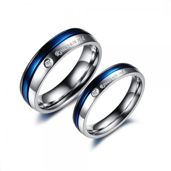 Titanium Silvery and Dark Blue Ring For Couples Inlaid Cubic Zirconia Roses Are Red Engraved Simple and Fashion