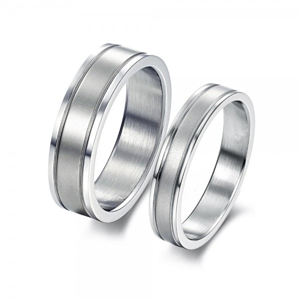 Titanium Silvery Ring For Couples Simple and Fashion Style Fluted Craft