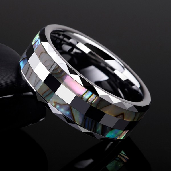 Tungsten Men's Ring Shellfish Design Fashion Style Inner Polish