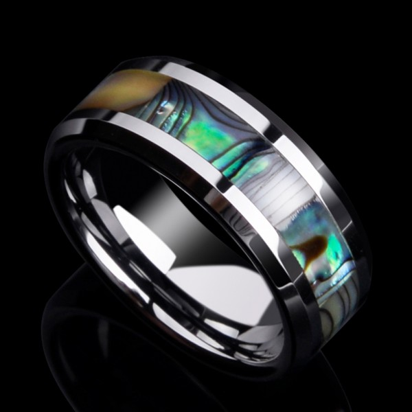 Tungsten Men's Ring Shell Design Colorful Texture Fashion Style