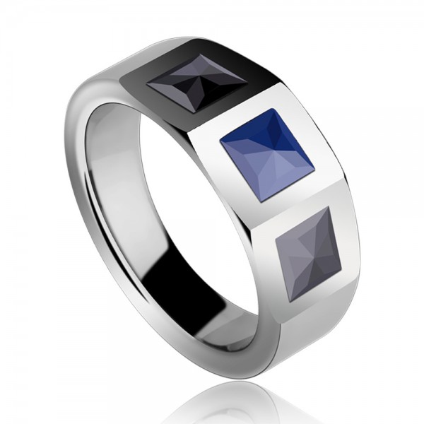 Tungsten Rose Silvery Men's Ring Inlaid Black and Blue Ceramic Vogue and Liberality Style Inner Arc