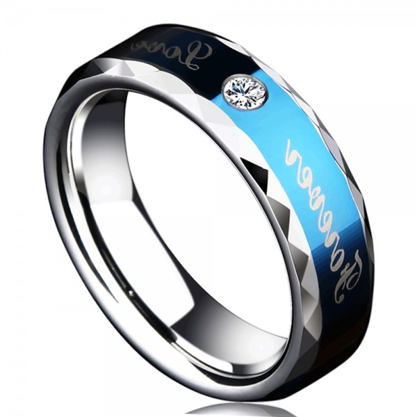 Tungsten Royalblue Men's Ring Polaris Engraved Forever Love
