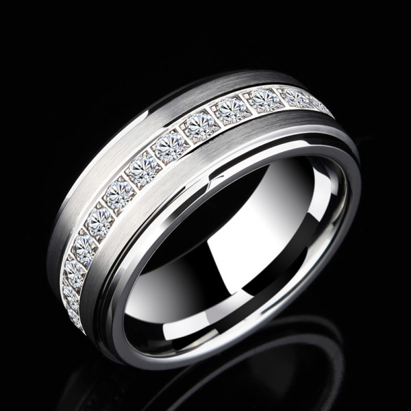 Tungsten Men's Ring Stars Design Brushed Craft Simple and Vogue Style
