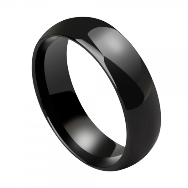 Ceramics Black Couple Rings Glossy Inner Arc Design Simple and Vogue Style